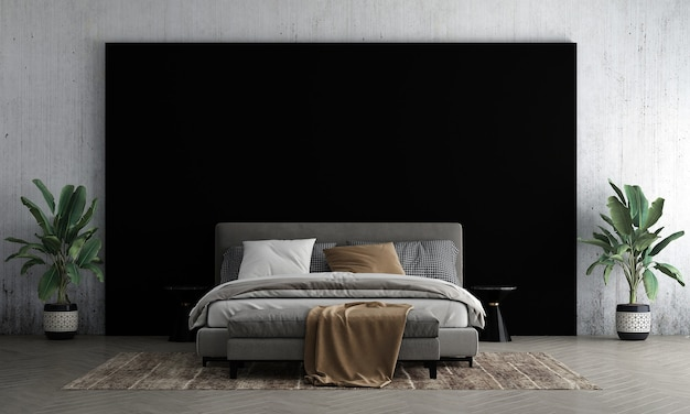 Nowoczesna makieta wnętrza sypialni i czarny i betonowy wystrój tła ściany oraz stolik i renderowanie 3d drzewa