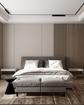 Nowoczesna makieta wnętrza sypialni i wystrój tła drewnianej ściany z bocznym stolikiem renderowania 3d
