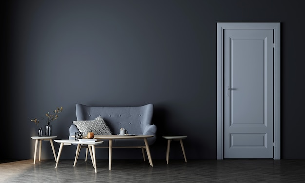 Nowoczesna makieta wystroju wnętrza minimalistycznego przytulnego salonu i pustej niebieskiej ściany tekstury tła i białych drzwi