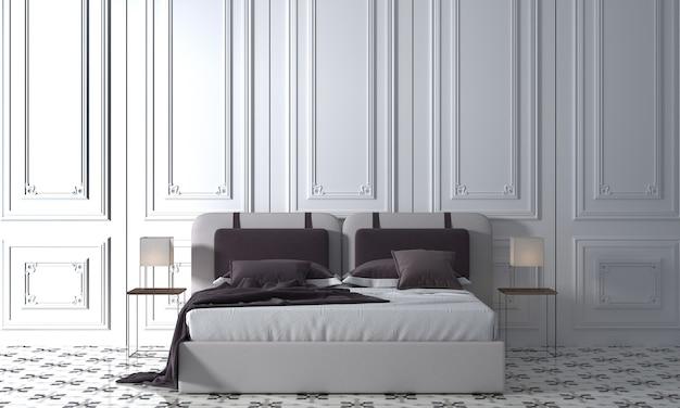 Nowoczesna makieta wystroju wnętrza przytulnej sypialni i białej ściany tekstury tła, renderowania 3d