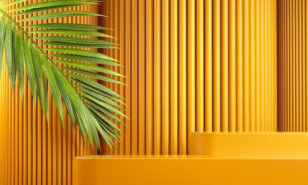 Nowoczesna makieta żółta platforma do brandingu produktu z liściem palmowym i abstrakcyjnym tłem