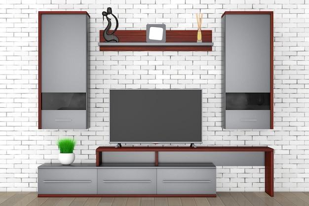 Nowoczesna meblościanka do salonu przed ceglaną ścianą. renderowanie 3d.