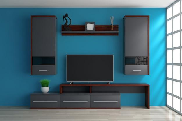 Nowoczesna meblościanka do salonu w pokoju przed niebieską ścianą. renderowanie 3d.