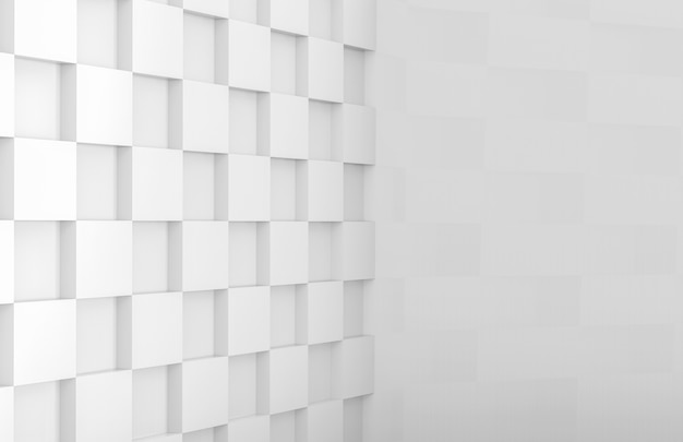 Nowoczesna minimalistyczna ściana narożna z białego kwadratu