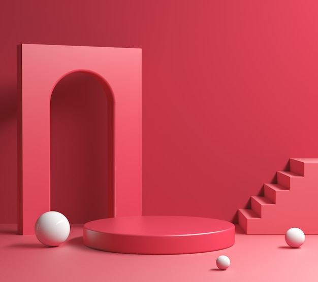 Nowoczesna minimalna kompozycja geometrii czerwonego wyświetlacza