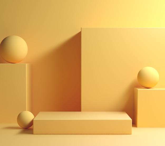 Nowoczesna minimalna makieta żółty kształt geometrii wyświetlacza