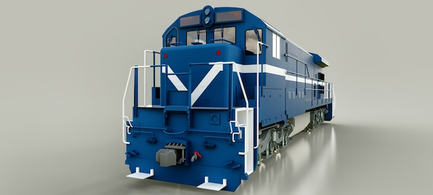 Nowoczesna niebieska lokomotywa spalinowa o dużej mocy i sile do długiego poruszania się