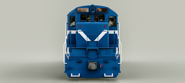 Nowoczesna niebieska lokomotywa z silnikiem diesla o dużej mocy i sile do poruszania długim i ciężkim pociągiem kolejowym. renderowania 3d.
