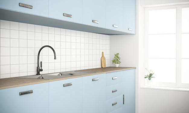 Nowoczesna niebieska minimalna skandynawska kuchnia