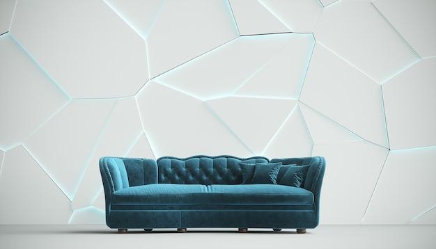 Nowoczesna niebieska sofa z tkaniny w stylu chesterfield w białym wnętrzu ze strukturalną popękaną ścianą. ilustracja 3d