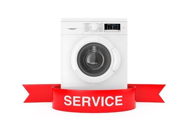 Nowoczesna pralka z czerwoną wstążką znak usług na białym tle renderowanie 3d