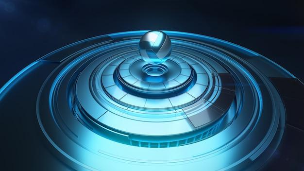 Nowoczesna projekcja 3d piłki do siatkówki nad platformą obrotową w kolorze niebieskim