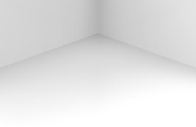 Nowoczesna prosta minimalna biała narożna ściana pokoju