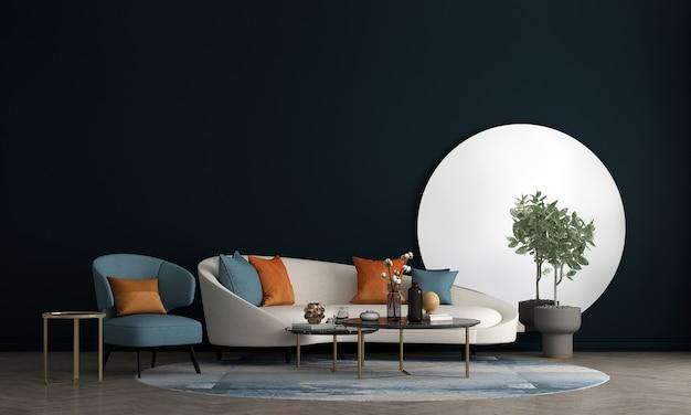 Nowoczesna przestrzeń salonu wnętrz z dekoracją i pustą makietą ścienną w tle, renderowanie 3d, ilustracja 3d