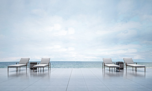Nowoczesna przestrzeń zewnętrzna i dekoracja leżanki oraz renderowanie 3d w tle z widokiem na morze