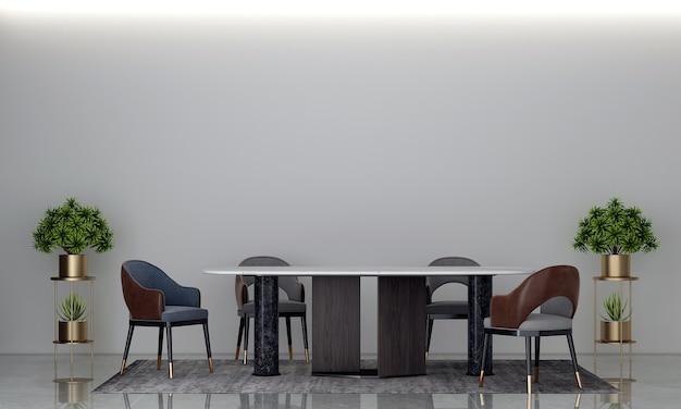 Nowoczesna przytulna jadalnia i betonowa ściana tekstura tło wystrój wnętrz renderowanie 3d
