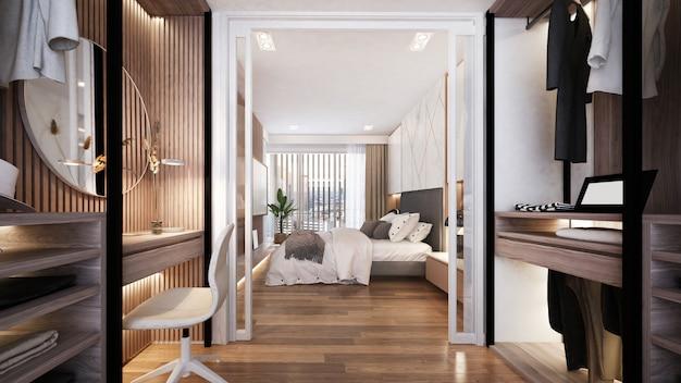 Nowoczesna, przytulna, luksusowa aranżacja garderoby i sypialni