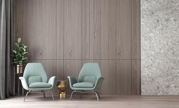 Nowoczesna, przytulna makieta wnętrza luksusowego salonu i lastryko i drewniana ściana w tle