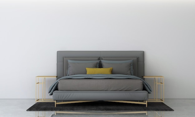 Nowoczesna przytulna sypialnia i betonowa ściana tekstura tło projektowanie wnętrz renderowanie 3d