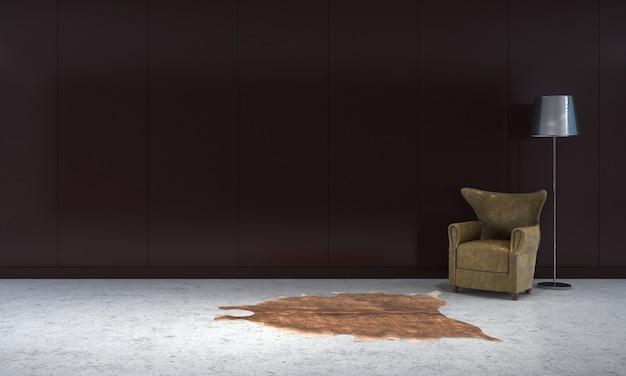 Nowoczesna pusta rama makieta wnętrza i salonu oraz czarny betonowy wystrój tła ściany i sofa z lampą podłogową renderowania 3d