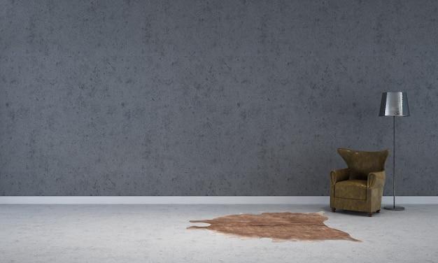 Nowoczesna pusta rama makieta wnętrza i salonu ze starego betonowego wystroju tła ściany i sofy z lampą podłogową renderowania 3d