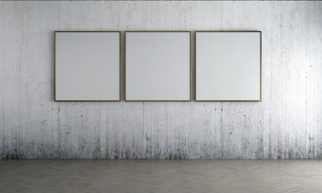 Nowoczesna pusta rama makieta wnętrza i salonu ze starego betonowego wystroju tła ściany i sofy ze złotym stolikiem 3d renderowania
