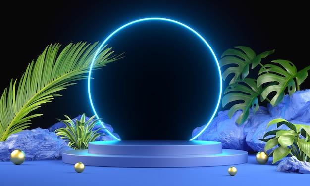 Nowoczesna rama elektryczna mockup blue podium light