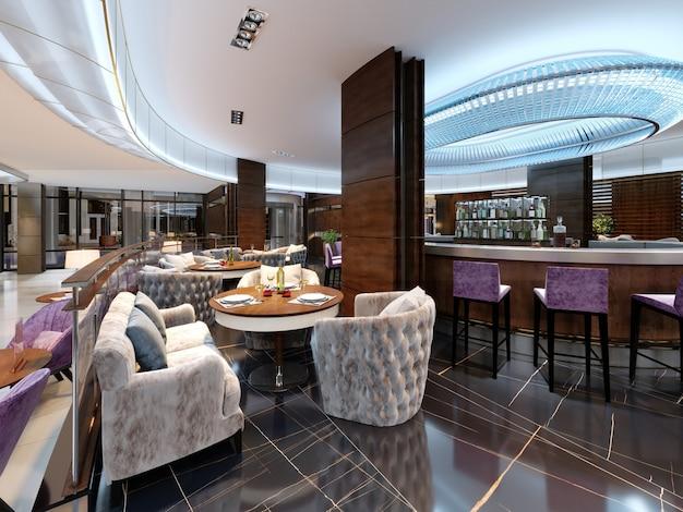 Nowoczesna restauracja barowa w luksusowym nowoczesnym stylu z eleganckimi meblami i oświetleniem. renderowanie 3d