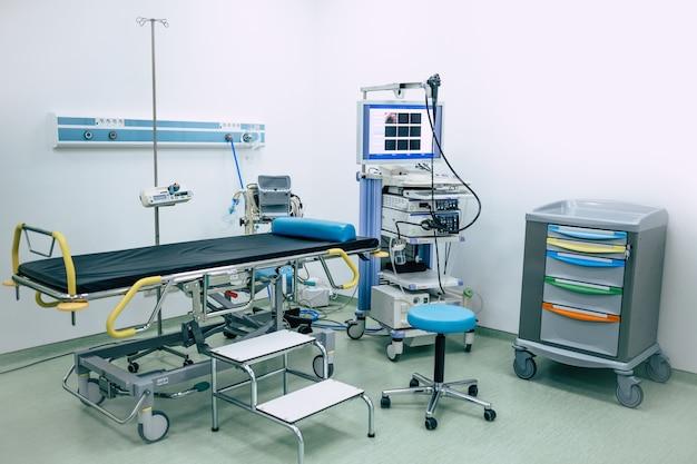 Nowoczesna sala endoskopowa w szpitalu lub prywatnej klinice gastroenterologii