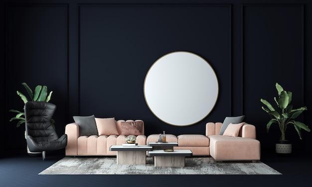 Nowoczesna ściana wewnętrzna salonu makieta w ciepłych neutralnych kolorach z sofą w nowoczesnym, przytulnym stylu na pustym tle białej ściany