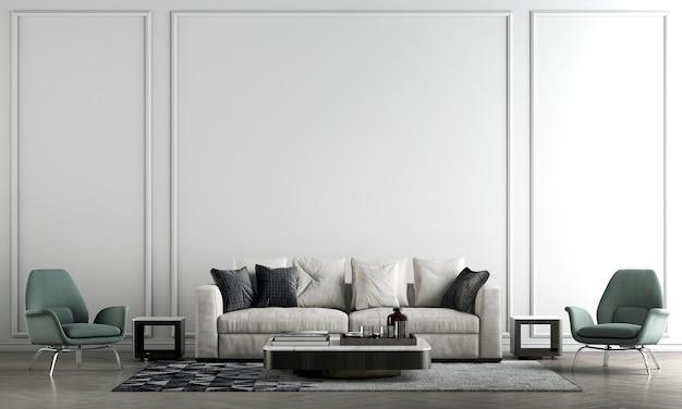 Nowoczesna ściana wewnętrzna salonu makieta w ciepłych neutralnych odcieniach z zieloną sofą, nowoczesna, przytulna dekoracja na pustym tle białej ściany wall