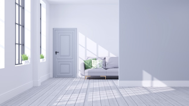 Nowoczesna skandynawska koncepcja wnętrza salonu