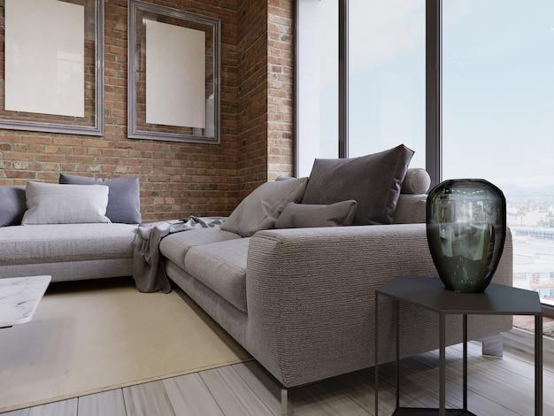 Nowoczesna sofa z panoramicznymi oknami w salonie na poddaszu. renderowanie 3d