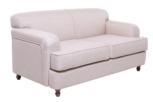 Nowoczesna sofa z szarej tkaniny na białym tle