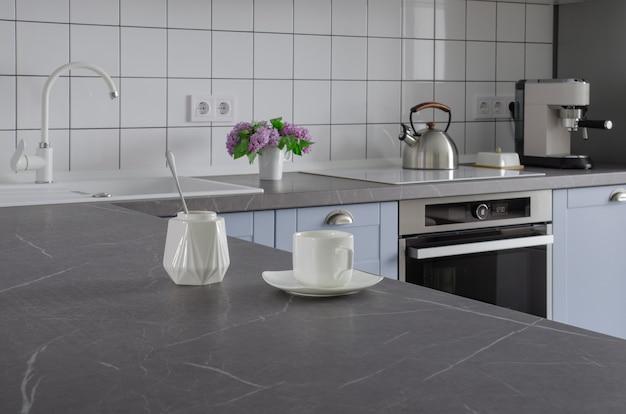 Nowoczesna stylowa minimalistyczna niebiesko-szara kuchnia z naczyniami do gotowania.
