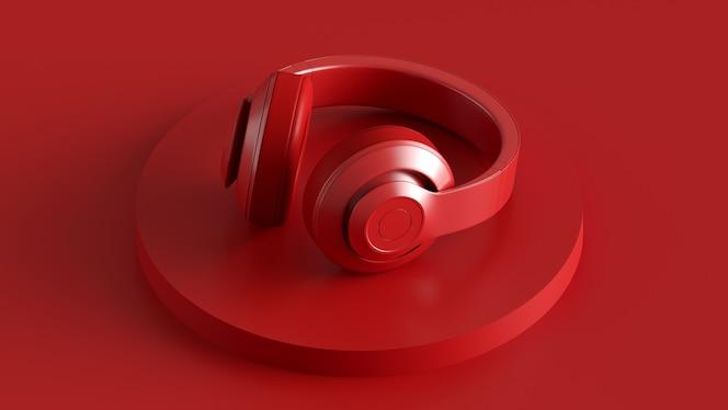 Nowoczesna stylowa monochromatyczna konstrukcja słuchawek tło audio lub plakat koncepcja nowoczesnej muzyki d ...