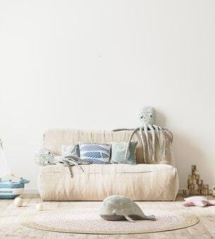 Nowoczesna sypialnia dla dzieci z różowym łóżkiem i miękkimi zabawkami, ścienny pokój dziecięcy w renderowaniu 3d