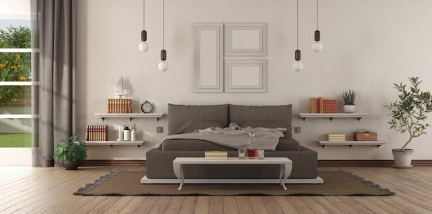 Nowoczesna sypialnia główna z brązową sypialnią