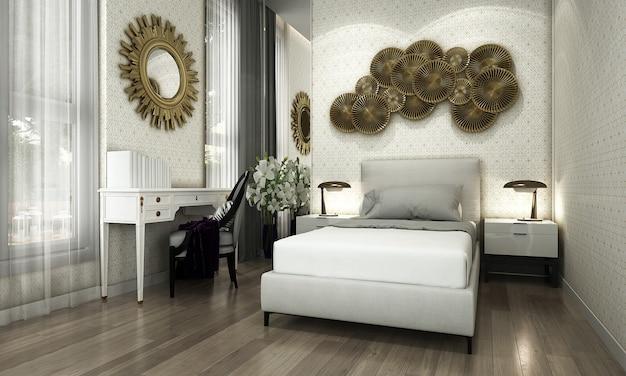 Nowoczesna sypialnia i stylowy wystrój wnętrz oraz dzieła sztuki