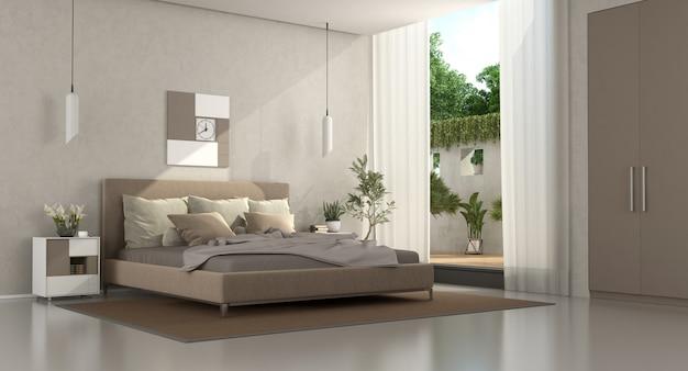 Nowoczesna sypialnia w kolorze brązowym i beżowym