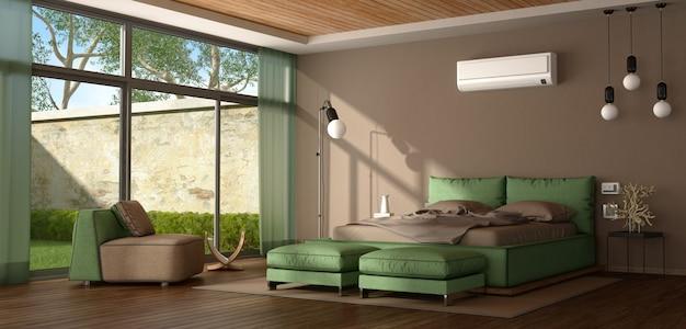 Nowoczesna sypialnia w kolorze brązowym i zielonym