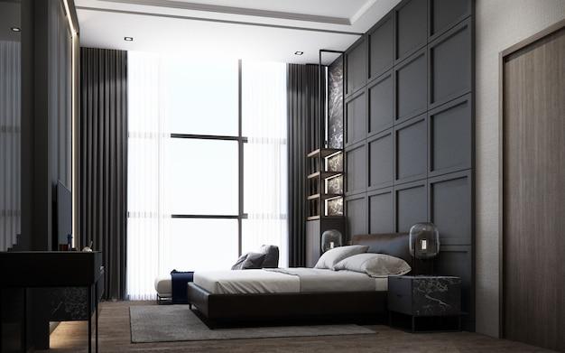 Nowoczesna sypialnia w luksusowym stylu z drewnianą i marmurową dekoracją w odcieniach szarości