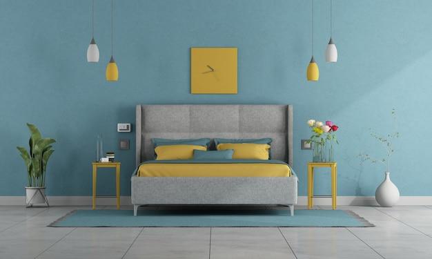 Nowoczesna sypialnia w pastelowych kolorach z podwójnym łóżkiem