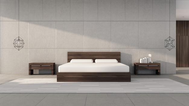 Nowoczesna sypialnia z jasnym porannym słońcem / wnętrzem renderingu 3d