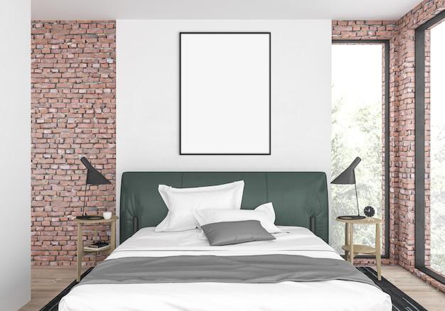Nowoczesna sypialnia z pustą pionową pustą ramką na zdjęcia lub ramką graficzną