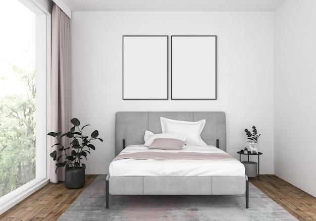 Nowoczesna sypialnia z pustymi podwójnymi ramkami, tło graficzne.