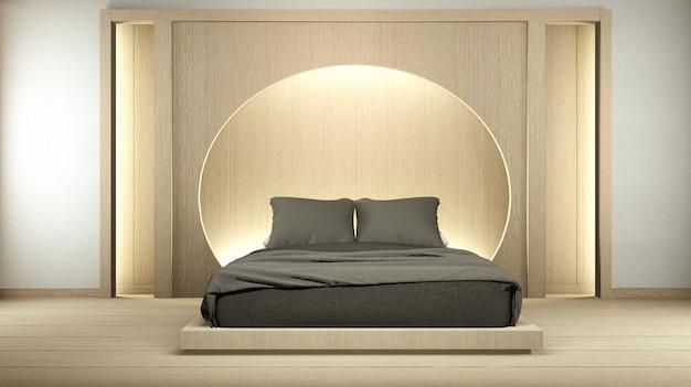 Nowoczesna sypialnia zen spokojnie. sypialnia w stylu japońskim z półką na ścianie ukryty projekt i światło w stylu japońskim. renderowanie 3d