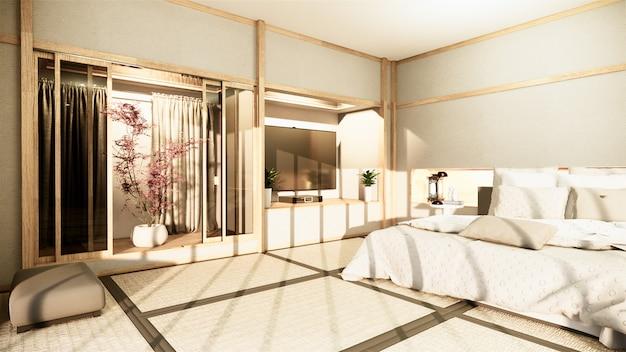 Nowoczesna sypialnia zen spokojnie. sypialnia w stylu japońskim z ukrytym oświetleniem półki i dekoracyjnym stylem nihon. renderowanie 3d
