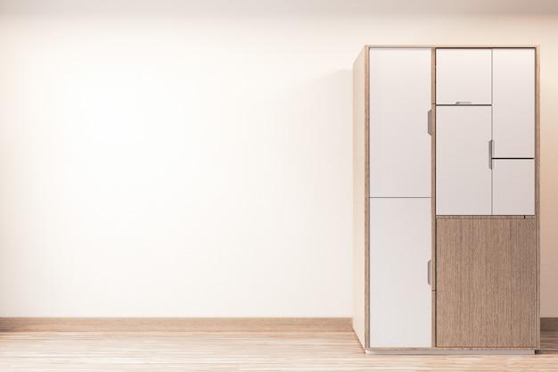 Nowoczesna szafa drewniany japoński styl na minimalistycznym wnętrzu pustego pokoju