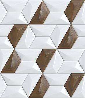 Nowoczesna tapeta geometryczna białe płytki z drewnianym dekorem orzechowym bezproblemowa realistyczna tekstura